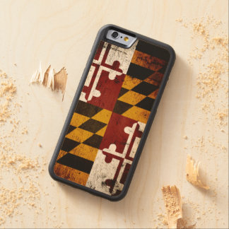 Black Grunge Maryland State Flag Carved Maple iPhone 6 Bumper Case