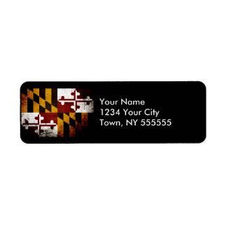 Black Grunge Maryland State Flag Return Address Label