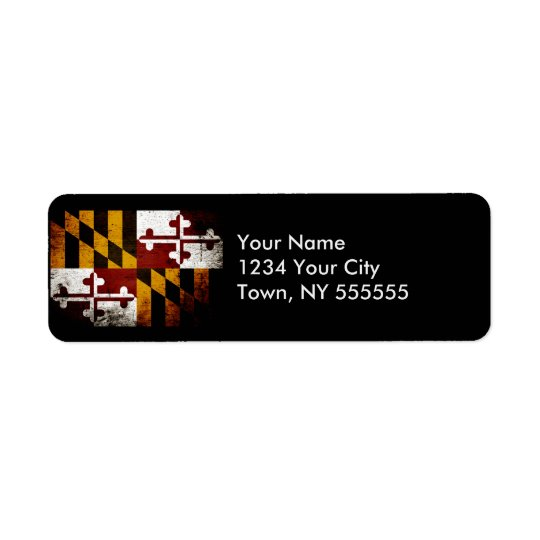Black Grunge Maryland State Flag Return Address Label