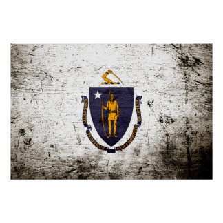 Black Grunge Massachusetts State Flag Poster