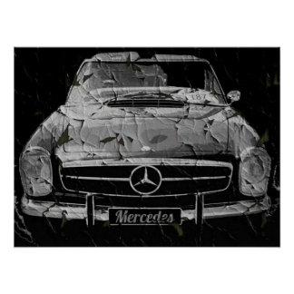 Black Grunge Mercedes poster by N.P.