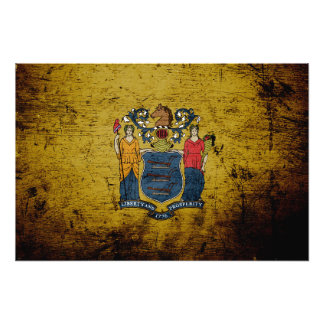 Black Grunge New Jersey State Flag Art Photo