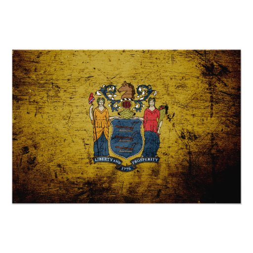Black Grunge New Jersey State Flag Art Photo