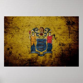 Black Grunge New Jersey State Flag Poster