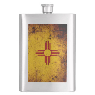 Black Grunge New Mexico State Flag Hip Flask