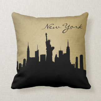 Black & Grunge New York Skyline | Landmark Throw Pillow