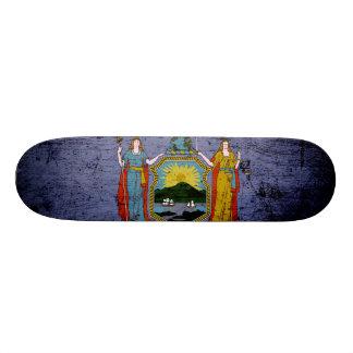 Black Grunge New York State Flag Skate Deck