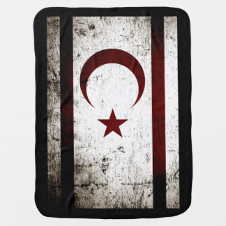 Black Grunge Northern Cyprus Flag Baby Blanket