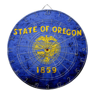 Black Grunge Oregon State Flag Dart Boards