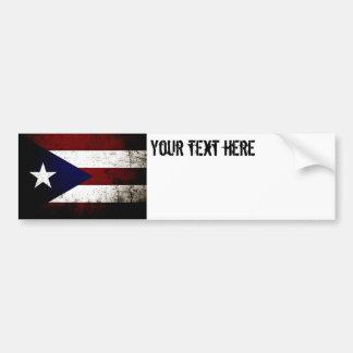 Black Grunge Puerto Rico Flag Bumper Stickers