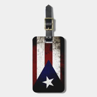 Black Grunge Puerto Rico Flag Luggage Tag