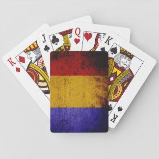 Black Grunge Romania Flag Playing Cards