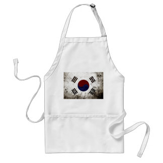 Black Grunge South Korea Flag Standard Apron