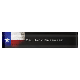 Black Grunge Texas State Flag Desk Nameplate