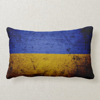 Black Grunge Ukraine Flag Lumbar Cushion
