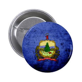 Black Grunge Vermont State Flag Button