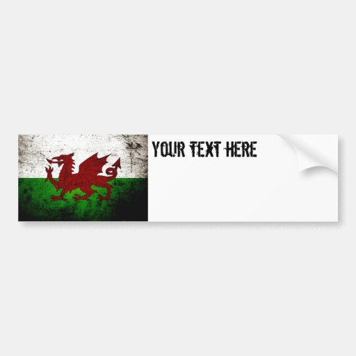 Black Grunge Wales Flag Bumper Sticker