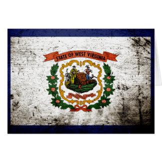 Black Grunge West Virginia State Flag Card