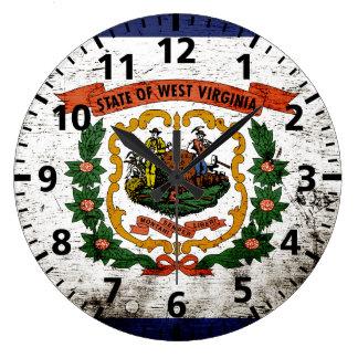 Black Grunge West Virginia State Flag Clock