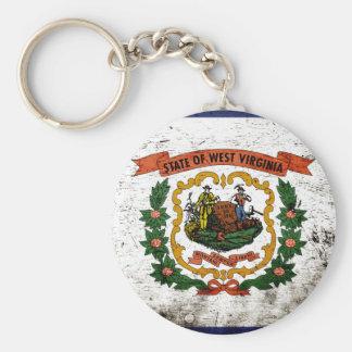 Black Grunge West Virginia State Flag Key Chain