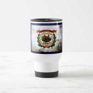 Black Grunge West Virginia State Flag Coffee Mugs