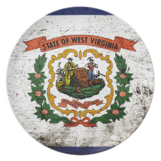 Black Grunge West Virginia State Flag Party Plates