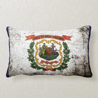 Black Grunge West Virginia State Flag Pillow