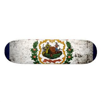 Black Grunge West Virginia State Flag Skate Deck