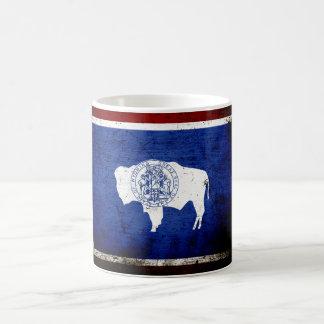 Black Grunge Wyoming State Flag Coffee Mugs