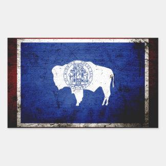 Black Grunge Wyoming State Flag Rectangle Sticker