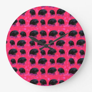 Black Guinea Pigs On Pretty Pink Roses Large Clock