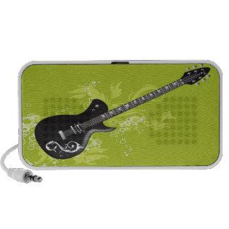 Black Guitar Doodle Custom Speakers  - Lime Green