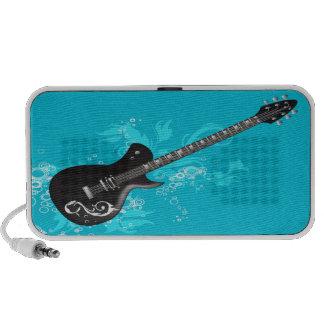 Black Guitar Doodle Custom Speakers  - Turquoise
