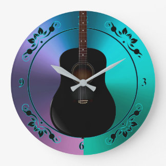 Black Guitar On Colorful Metallic Music Clock