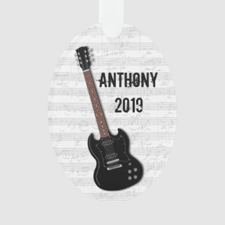 Black Guitar Teen Boys Name Date Ornament