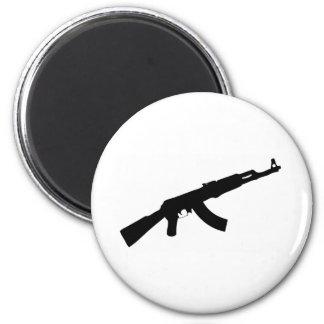 black gun ak 47 icon 6 cm round magnet