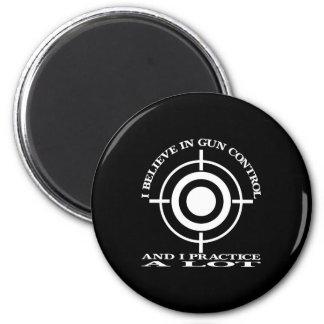 Black Gun Control Practice Lot 6 Cm Round Magnet