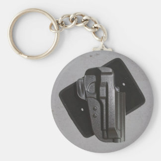 Black Gun / Firearm Holster Basic Round Button Key Ring