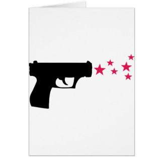 black gun star pistol stars greeting card
