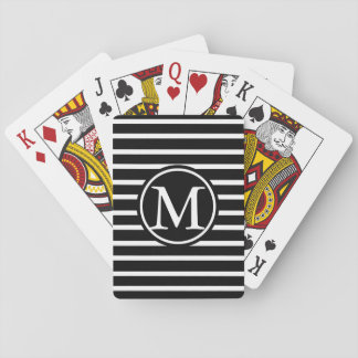 Black H Stripe Monogram Playing Cards