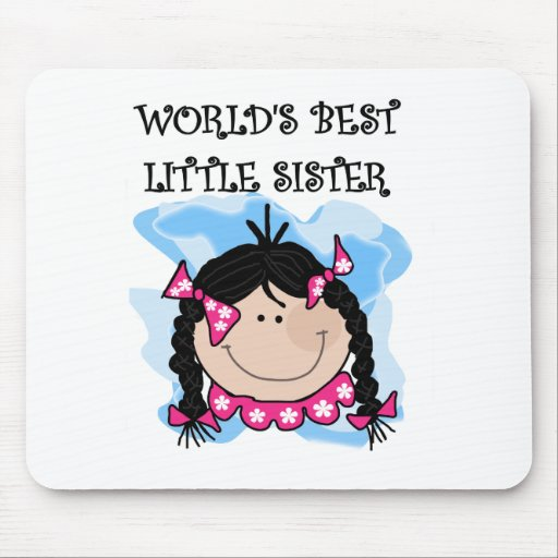 Black Hair Best Little Sister Tshirts and Gifts Mousepads