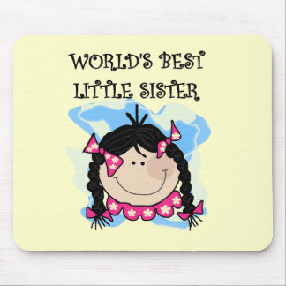 Black Hair Best Little Sister Tshirts and Gifts Mousepad