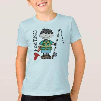 Black Hair Boy I Love Fishing T-Shirt