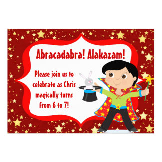 Black Hair Boy Magician Birthday Party Invitation