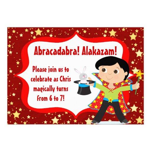Black Hair Boy Magician Birthday Party Invitation