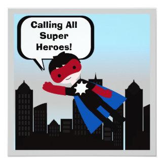 Black Hair Boy Super Hero Birthday Invitation