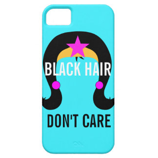 Black Hair Don't Care Girl Superhero Comic Book iPhone 5 Cases