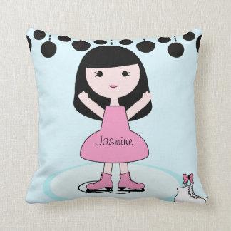 Black Hair Girl Figure Skater Pillow