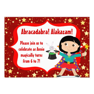 Black Hair Girl Magician Birthday Party Invitation