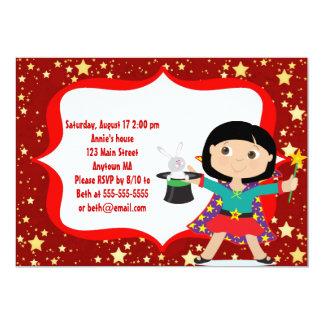 Black Hair Girl Magician Birthday Party Invitation